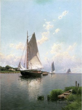 Boat Painting - Blue Point Long Island modern boat Alfred Thompson Bricher