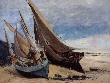 photorealism realism Painting - Fishing Boats on the Deauville Beach Realism Gustave Courbet