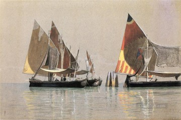 italian Painting - Italian Boats Venice seascape William Stanley Haseltine