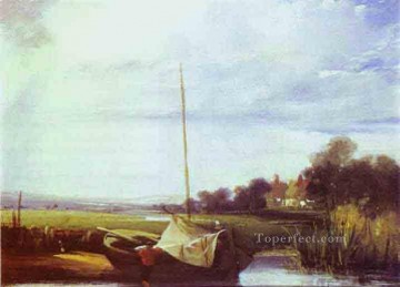 Boat Painting - River Scene in France boat seascape Richard Parkes Bonington