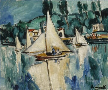 Landscapes Painting - SAILING BOATS ON THE MARNE Maurice de Vlaminck vessels
