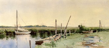 Boat Painting - Sailboats in an Inlet Alfred Thompson Bricher