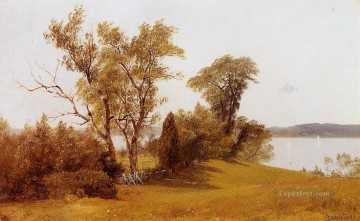 Boat Painting - Sailboats on the Hudson at Irvington luminism landsacpes Albert Bierstadt