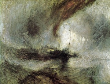 Harbour Painting - Snow Storm Steam Boat off a Harbours Mouth Romantic landscape Turner