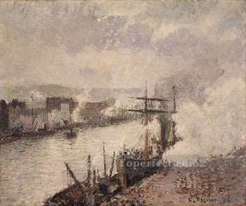 1896 Oil Painting - Steamboats in the Port of Rouen 1896 postCamille Pissarro