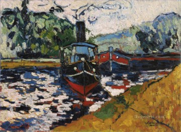 Landscapes Painting - THE TUG Maurice de Vlaminck vessels