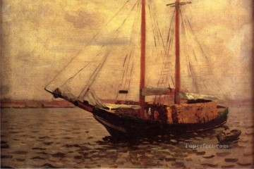 Anshutz Canvas - The Lumber Boat naturalistic seascape Thomas Pollock Anshutz