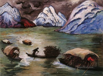Landscapes Painting - boating Marianne von Werefkin boats