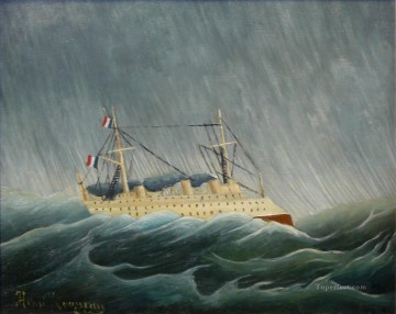 Boat Painting - the storm tossed vessel Henri Rousseau