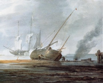 Boat Painting - sSeDet marine Willem van de Velde the Younger boat seascape