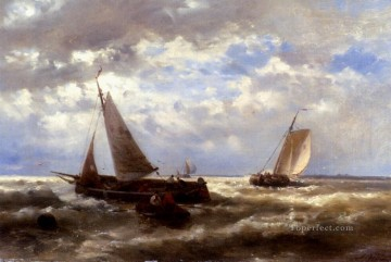 Boat Painting - A Windy Day Abraham Hulk Snr boat seascape