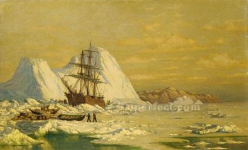 Bradford Canvas - An Incident Of Whaling boat seascape William Bradford