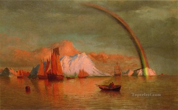 Arctic Sunset with Rainbow boat seascape William Bradford Oil Paintings