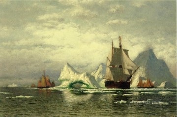 Boat Painting - Arctic Whaler Homeward Bound Among the Icebergs boat seascape William Bradford
