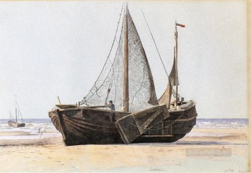 Boat Painting - Blankenberg seascape boat William Stanley Haseltine