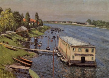 Boat Painting - Boathouse in Argenteuil Impressionists Gustave Caillebotte