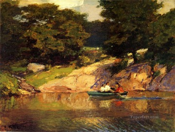 Boat Painting - Boating in Central Park landscape beach Edward Henry Potthast
