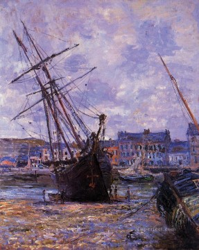 Boat Painting - Boats Lying at Low Tide at Facamp Claude Monet
