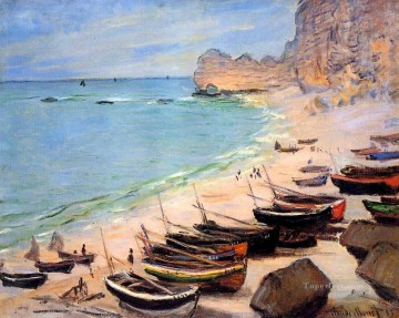 Boat Painting - Boats on the Beach at Etretat Claude Monet