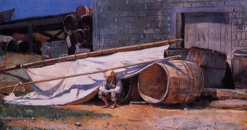 photorealism realism Painting - Boy in a Boatyard aka Boy with Barrels Realism Winslow Homer