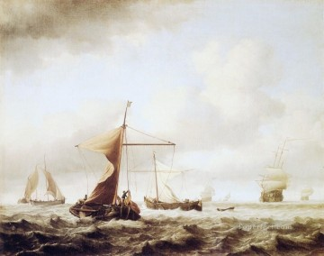 Boat Painting - Breeze marine Willem van de Velde the Younger boat seascape