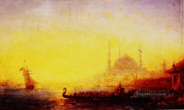 Constant Canvas - CONSTANTINOPLE AU SOLEIL COUCHANT boat Barbizon Felix Ziem seascape