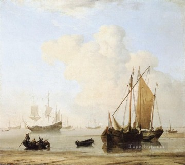 Calm marine Willem van de Velde the Younger boat seascape Oil Paintings