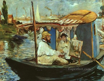 Working Works - Claude Monet Working on his Boat in Argenteuil Realism Impressionism Edouard Manet