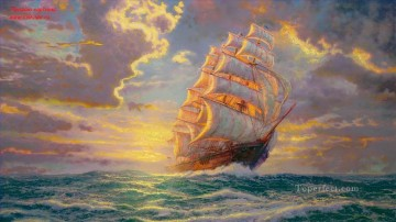 Landscapes Painting - Courageous Voyage Thomas Kinkade sailing ship ocean