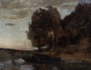 Boat Painting - Fisherman Boating along a Wooded Landscape Jean Baptiste Camille Corot