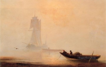 Boat Painting - Fishing Boats In A Harbor seascape boat Ivan Aivazovsky