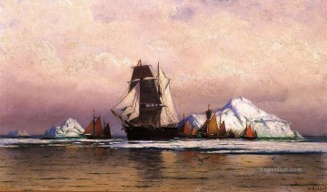 Bradford Canvas - Fishing Fleet off Labrador2 boat seascape William Bradford