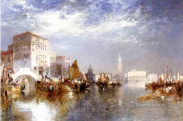 seascape mediterranean sea venice boat ship waterscape Painting - Glorious Venice boat Thomas Moran