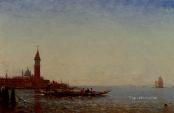Gondole Devant St Giorgio Venice boat Barbizon Felix Ziem seascape Oil Paintings