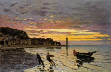 Hauling a Boat Ashore Honfleur Claude Monet Oil Paintings