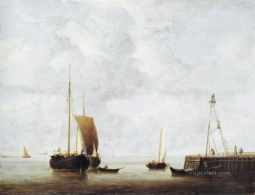 Boat Painting - Hoeker marine Willem van de Velde the Younger boat seascape