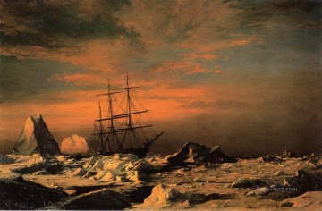 Boat Painting - Ice Dwellers Watching the Invaders boat seascape William Bradford