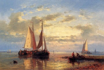 In A Calm Abraham Hulk Snr boat seascape Oil Paintings