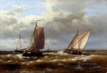 Boat Painting - In Choppy Waters Abraham Hulk Snr boat seascape