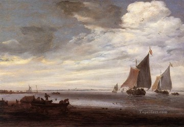 River Scene2 boat seascape Salomon van Ruysdael Oil Paintings