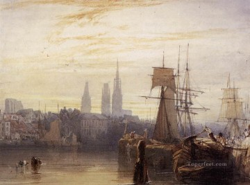 Boat Painting - Rouen boat seascape Richard Parkes Bonington