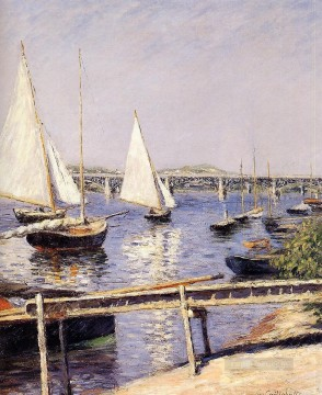 Argenteuil Canvas - Sailing Boats at Argenteuil Impressionists seascape Gustave Caillebotte