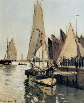 Boat Painting - Sailing Boats at Honfleur Claude Monet