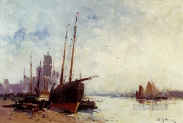 gouache - Shipping In The Docks boat gouache impressionism Eugene Galien Laloue