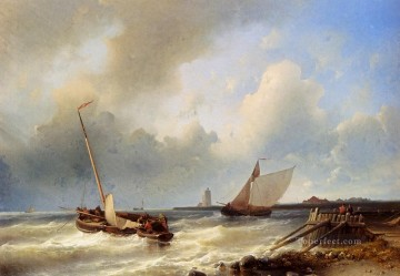 Shipping Off The Dutch Coast Abraham Hulk Snr boat seascape Oil Paintings