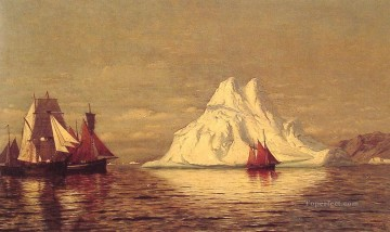 Boat Painting - Ships and Iceberg boat seascape William Bradford