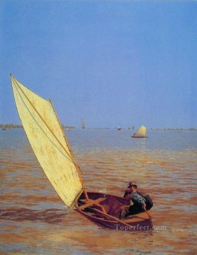 Boat Painting - Starting Out After Rail Realism boat Thomas Eakins