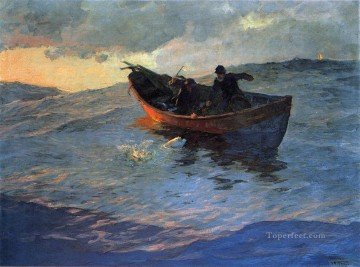 cat cats Painting - Struggle for the Catch boat Edward Henry Potthast