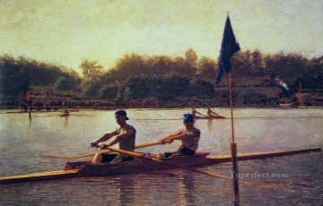 photorealism realism Painting - The Biglin Brothers Racing Realism boat Thomas Eakins