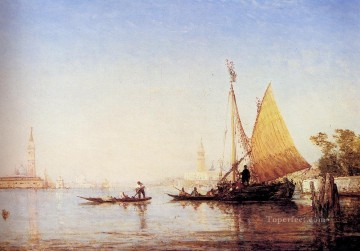 seascape mediterranean sea venice boat ship waterscape Painting - The Grand Canal Venice boat Barbizon Felix Ziem seascape
